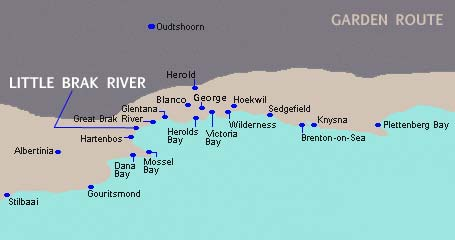 Garden Route Map and the location on Little Brak River